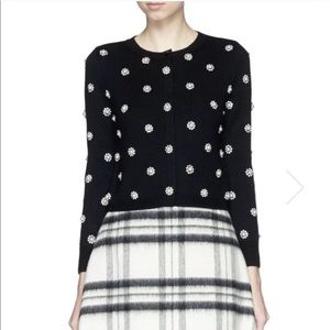 Alice & Olivia Erwin black pearl flower sweater S